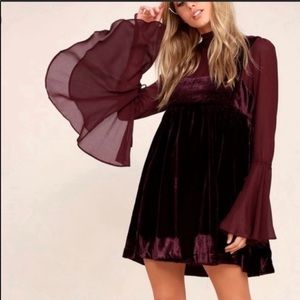 Free People Counting Stars Velvet Dress Burgundy